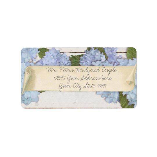 Wedding Return Address Wood Blue Hydrangea Vintage Label