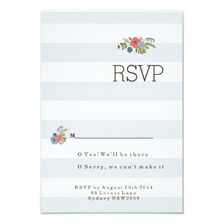 Wedding Ribbon RSVP - Blue 9 Cm X 13 Cm Invitation Card