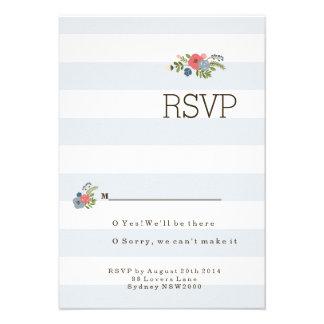 Wedding Ribbon RSVP - Blue Personalized Invitation