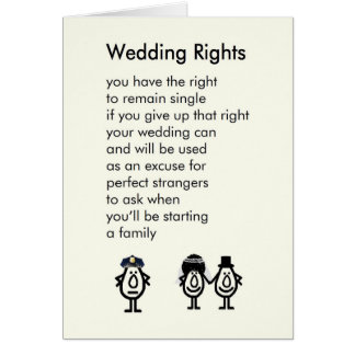 Wedding Rights - A wedding congratulations poem Card