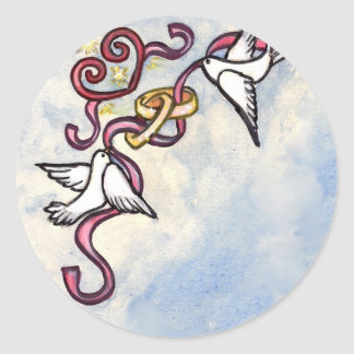 Wedding ring doves classic round sticker