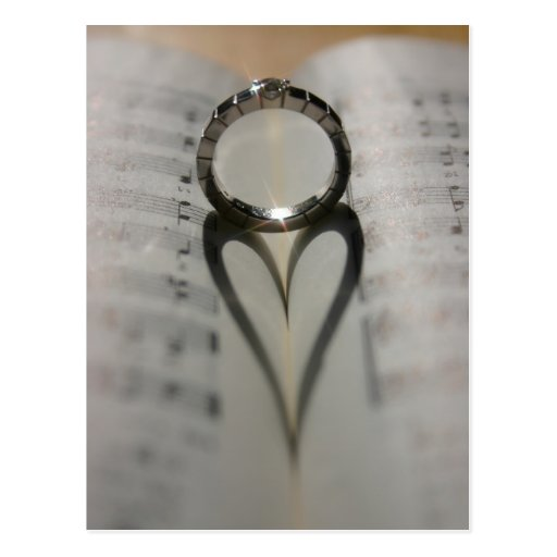 Wedding Ring Heart Shadow Post Card