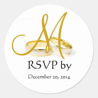 Wedding Ring Monogram RSVP Stickers Gold