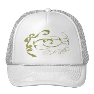 Wedding Rings and Bows Art Trucker Hats