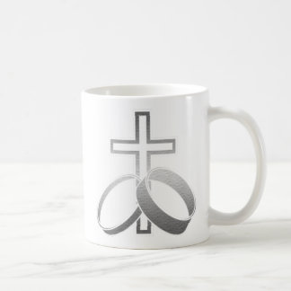 Wedding Rings and Cross Art Coffee Mug