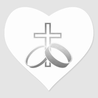 Wedding Rings and Cross Art Heart Sticker