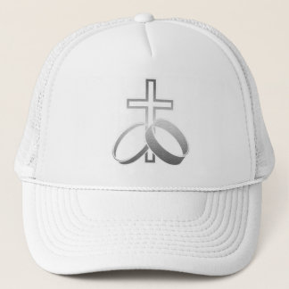Wedding Rings and Cross Art Trucker Hat