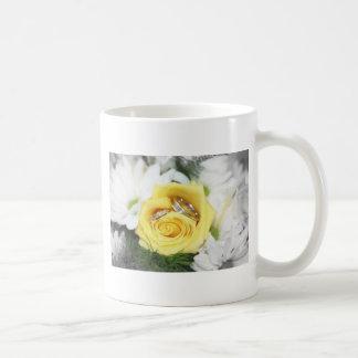 wedding rings and flowers basic white mug