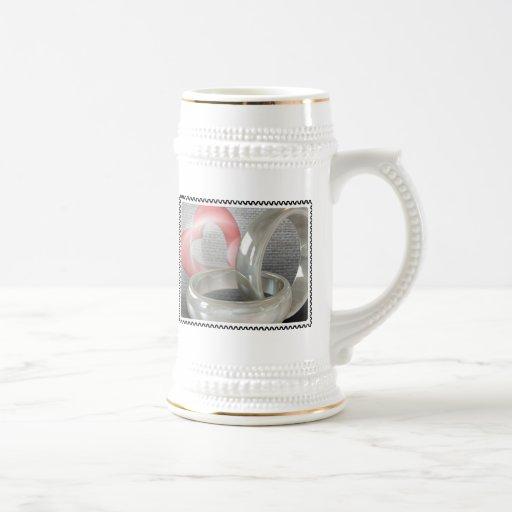 Wedding Rings and Heart Coffee Mugs