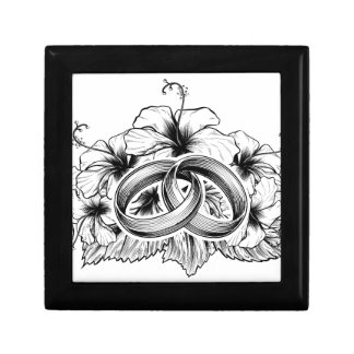 Wedding Rings and Hibiscus Flowers Small Square Gift Box