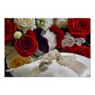 Wedding rings and roses poster