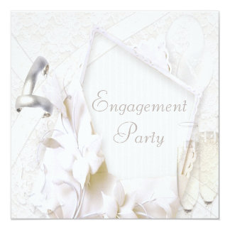 Wedding Rings & Champagne Glasses Engagement Party 13 Cm X 13 Cm Square Invitation Card