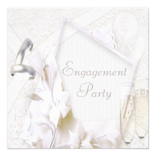 Wedding Rings & Champagne Glasses Engagement Party Custom Announcements
