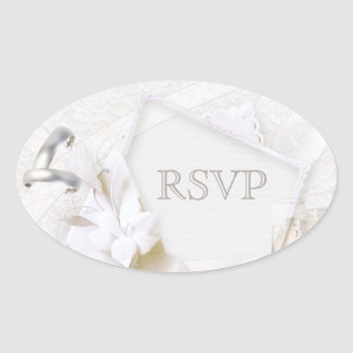 Wedding Rings & Champagne Glasses RSVP Oval Sticker
