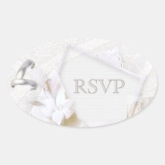 Wedding Rings & Champagne Glasses RSVP Oval Sticker