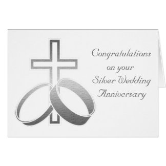 Wedding Rings & Cross for Wedding and Anniversarys Greeting Card