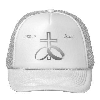 Wedding Rings & Cross for Wedding and Anniversarys Mesh Hats