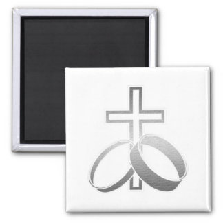 Wedding Rings & Cross for Wedding and Anniversarys Magnet