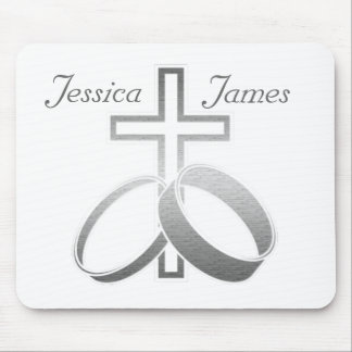 Wedding Rings & Cross for Wedding and Anniversarys Mouse Mat