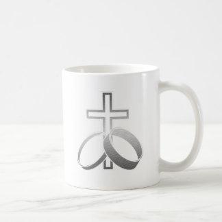 Wedding Rings & Cross for Wedding and Anniversarys Mugs