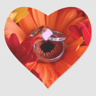 Wedding Rings in Mum Heart Envelope Seal Heart Sticker