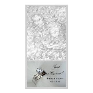 Wedding Rings Just Married Personalized Photo Card