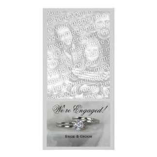 Wedding Rings on Gray Engagement Announcement Photo Card Template
