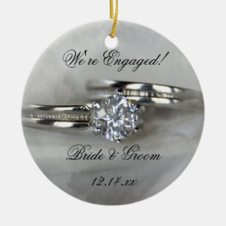 Wedding Rings on Gray Engagement Christmas Ornament