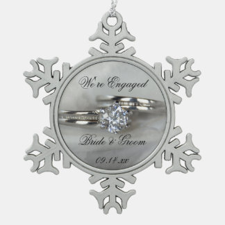 Wedding Rings on Gray Engagement Snowflake Pewter Christmas Ornament