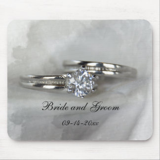 Wedding Rings on Gray Mouse Mat