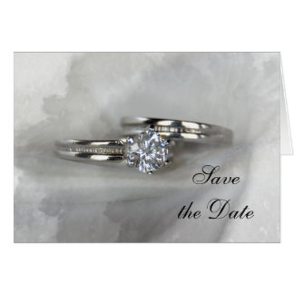 Wedding Rings on Gray Save the Date Card