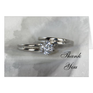 Wedding Rings on Gray Thank You Card