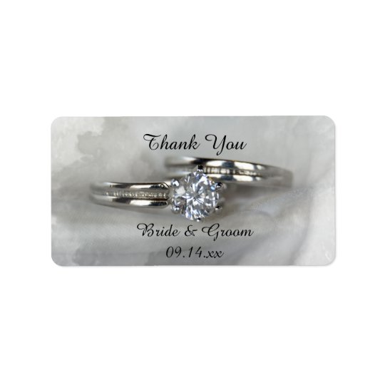 Wedding Rings on Grey Thank You Favour Tag
