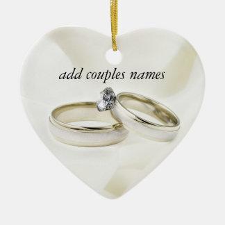 Wedding Rings on Satin Ceramic Heart Decoration