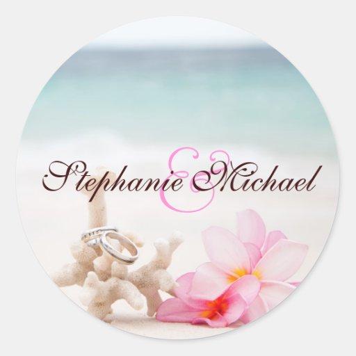 Wedding Rings On The Beach Round Sticker