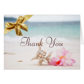 Wedding Rings On The Beach Thank You Card