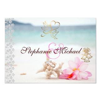 Wedding Rings On The Beach Wedding Invitation