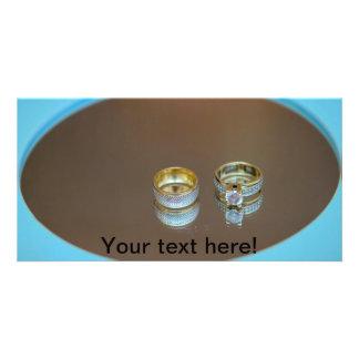Wedding rings custom photo card