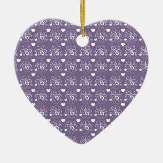 Wedding rings silver on dark purple christmas ornament
