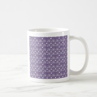 Wedding rings silver on dark purple coffee mug