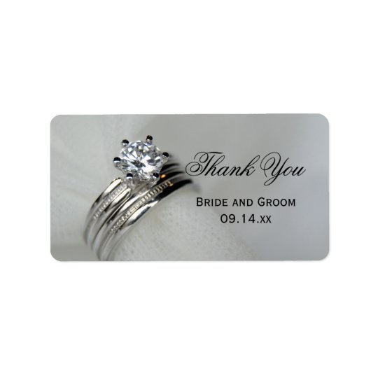 Wedding Rings Thank You Favour Tag Address Label
