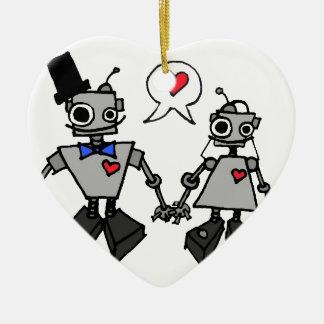 Wedding robots christmas ornament