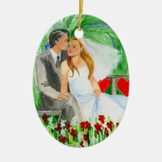 Wedding Romantic Bride and Groom in Garden Ceramic Oval Decoration