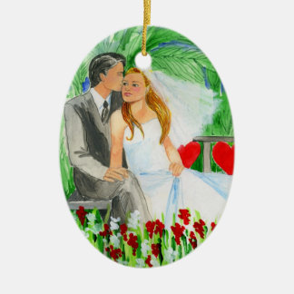 Wedding Romantic Bride and Groom in Garden Christmas Ornament