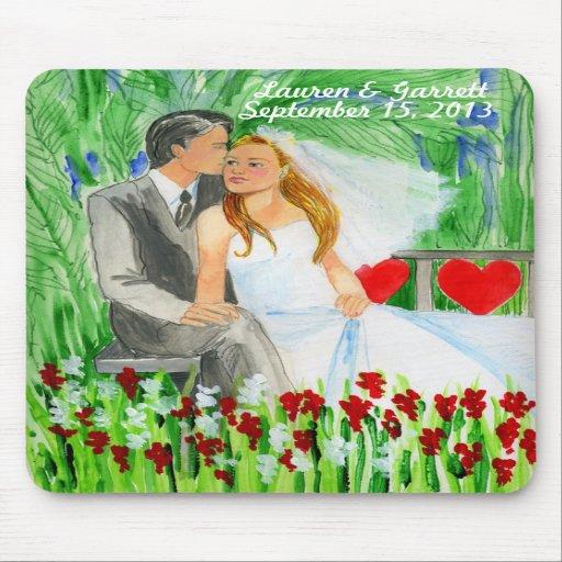 Wedding Romantic Bride and Groom in Garden Mousepads