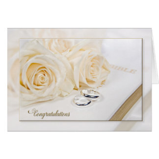 Wedding roses and rings reflection card
