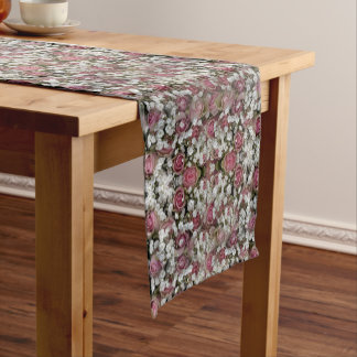Wedding Roses Mosaic - White, Rose, Short Table Runner