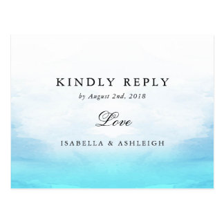 Wedding RSVP | Blue Watercolor Ocean Tides Postcard