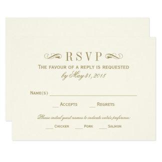 Wedding RSVP Card   Antique Gold Flourish