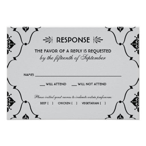 Wedding RSVP Card   Art Deco Style